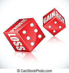 Business Dice - illustration of business dice showing profit...