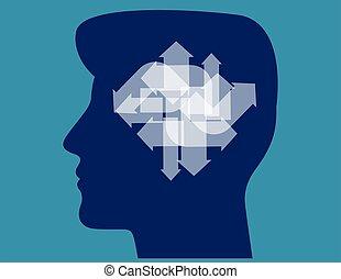 business, différent, illustration., head., flèches, ...