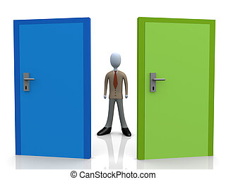 3d business person standing in front of two doors.