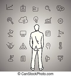 Business dilemma. Businessman looking at the gray business icons on the wall vector illustration doodle sketch hand drawn with black lines isolated on gray background. Business concept.