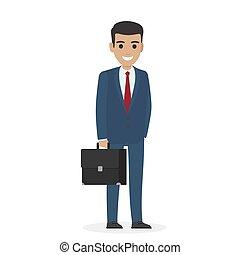 business, directeur, complet, sourire, administrer, ou