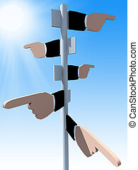 Business direction - 3d rendered direction signs on sky...