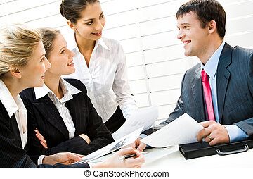 Business directions - Portrait of confident boss giving...