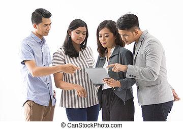 business, discussion, à, tablette