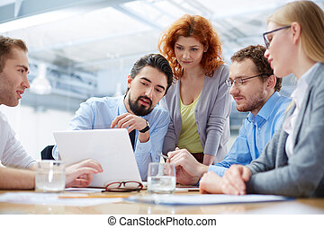 Business discussion - Angle view of a business team...