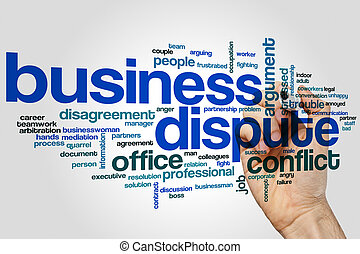 Business dispute word cloud concept on grey background