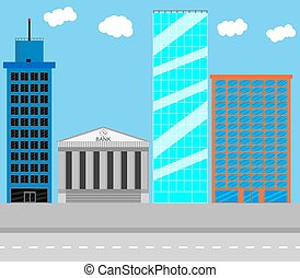 Business district. Architecture urban, bank and city, town structure, building house, residential skyscraper office, vector art design abstract unusual fashion illustration