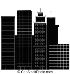 Business district black white. Financial district, office building, building, cityscape with skyscraper street. Vector illustration