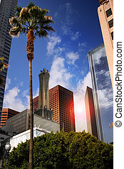 Cityscape of business district in Los Angeles downtown