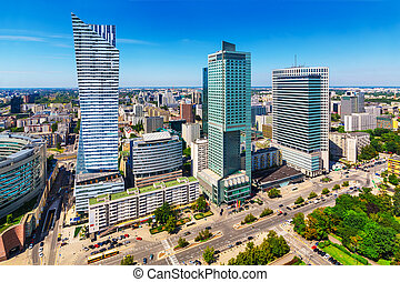 Business district in Warsaw, Poland - Scenic summer outdoor...