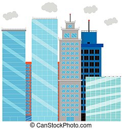 Business district with glass skyscrapers. Financial district and office building, cityscape skyscraper street. Vector illustration