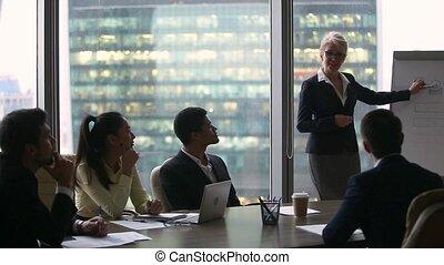 business, divers, orateur, plan, femme, nouveau, discuter, cadres