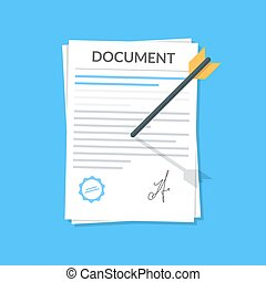 Business document attached by an arrow to the wall. Icon in the flat style of the attached file Concept vector icon for mobile application or web site. Vector illustration isolated on blue background.