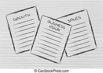 business documents: growth, business vision, sales - set of ...