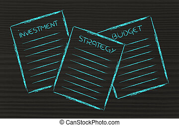 business documents: investment, strategy, budget