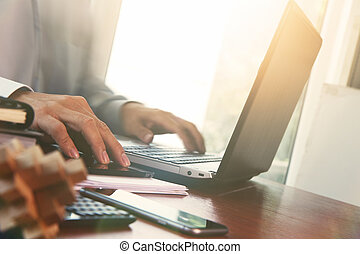 business documents on office table with digital tablet and...