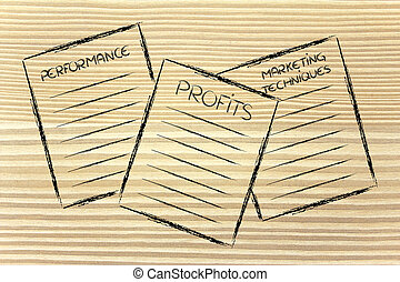 business documents: performance, profits, marketing...