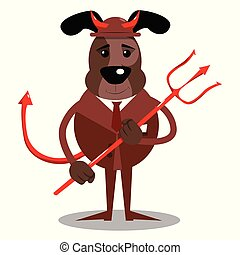 Business dog devil with pitchfork.