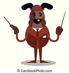 Business dog orchestra conductor. - Cartoon vector...