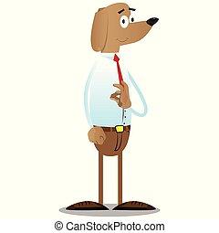 Business dog showing ok sign.