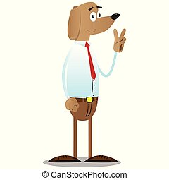 Business dog showing the V sign. - Cartoon illustrated ...