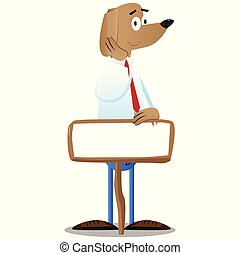 Business dog with blank paper on wood.