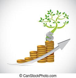 business, dollar, arbre, illustration, graphique, monnaie