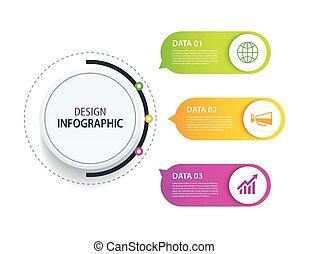 business, données, diagramme, utilisé, toile, 3, vecteur, processes., design., être, flot travail, boîte, disposition, conception, étapes, icon., bannière, infographic, commercialisation, concept, option
