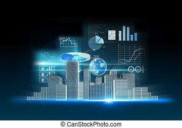 business, données, fond