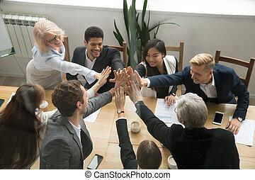 business, donner, projection, unité, élevé, divers, cinq, équipe, vue dessus