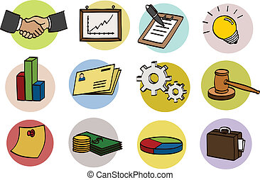 business doodle icon set