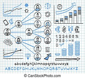 Business doodle set on paper background. Vector hand drawn...