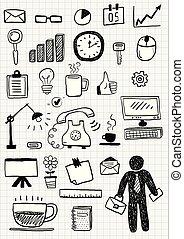 Business doodle sketch set. Vector hand drawn illustration