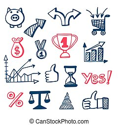 Business doodles icons set