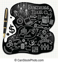 Business doodles icons set. Ink shaped people head on paper. Vector illustration.