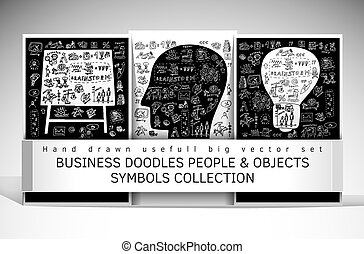 Business doodles people and objects symbols set