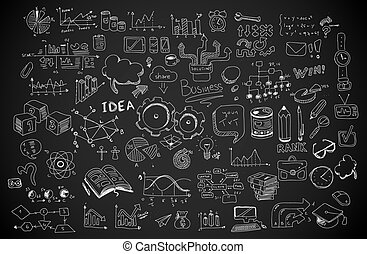 Business doodles Sketch set : infographics elements isolated, vector shapes.