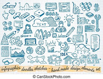 Business doodles Sketch set : infographics elements isolated, vector shapes. It include lots of icons included graphs, stats, devices, laptops, clouds, concepts and so on.
