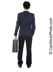 business, dos, isolé, asiatique, blanc, homme, désinvolte, vue