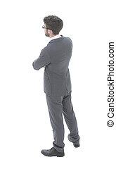 business, dos, regarder, homme, forward., vue