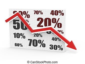 Business down - Percentage symbols with an arrow down