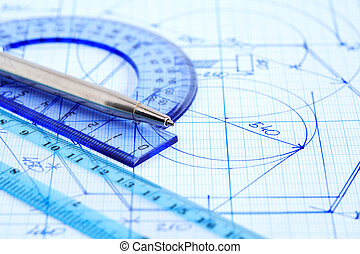 Business Draft - Business concept. Closeup of pen near...