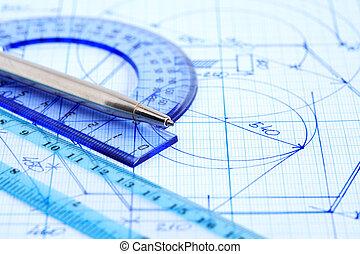 Business Draft - Business concept. Closeup of pen near...