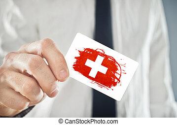 business, drapeau suisse, tenue, suisse, homme affaires, carte