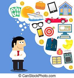 Business dreams, future planning vector illustration