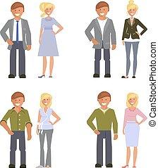 Business dress code. Man and woman in smart casual style suits isolated on white background. Vector illustration of people in formal clothes.