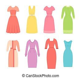 Business dresses for women. Vector illustration. Female textile, flat design.