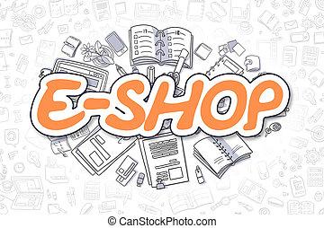 business, e-faire emplettes, griffonnage, concept., -, text., orange