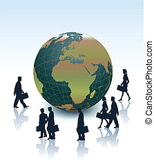 Business Earth and people. Vector