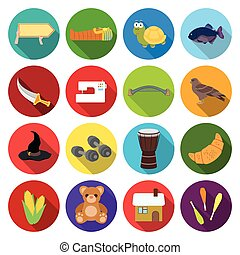 , business, ecology, tourism and other web icon in flat style., history, nature, industry, icons in set collection.